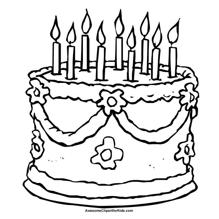 Pinto Dibujos: Pastelito de cumpleaños para colorear