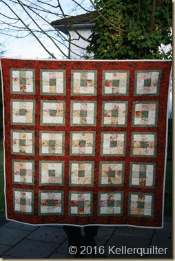 Quilt224-blumiger Nine-Patch