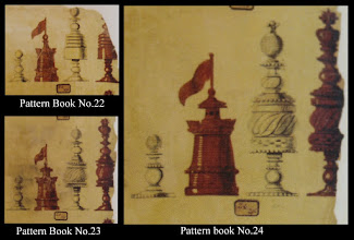 Photo: Bone Chessmen - No's 22-24  Jaques 'Pattern Book'  Unfortunately, we no longer have the upper section of the King in No.22 - so cannot determine whether it is of the simpler style shown in lower-numbered sets, or like the more complex style shown in sets 23/24. Similarly, it is not possible to determine whether the Q is a pure ball, or has a protruding tip as in 23/24.  Most likely, however, No 22 is of the same simpler pattern overall as exemplified by No 21.