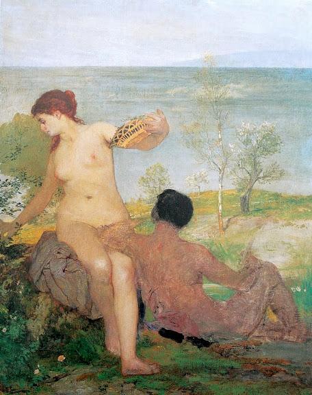 Arnold Böcklin - Mädchen und Jüngling beim Blumenpflücken