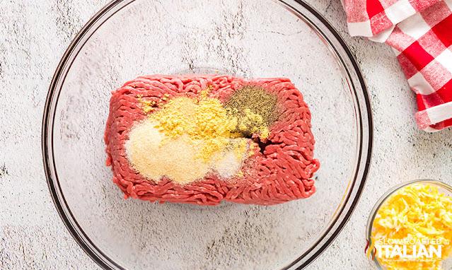 air fryer meatballs ingredients in a bowl