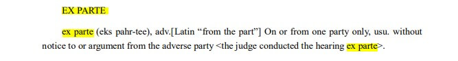 meaning of ex parte in law