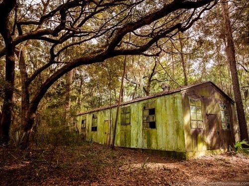 Old wooden structure  oatland island wildlife centre Savannah Georgia