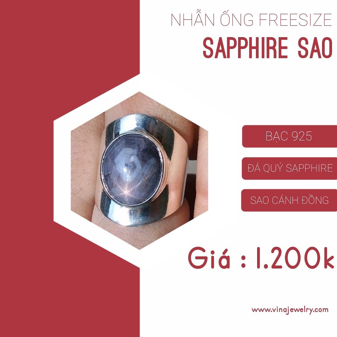 Nhẫn đá quý Sapphire sao thiên nhiên có hình tinh thể lục giác