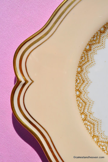 Paragon 1930s cream and gold vintage cake plate pattern