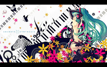 women vocaloid gloves flowers hatsune miku keyboards long hair tail green eyes high heels zebras gre