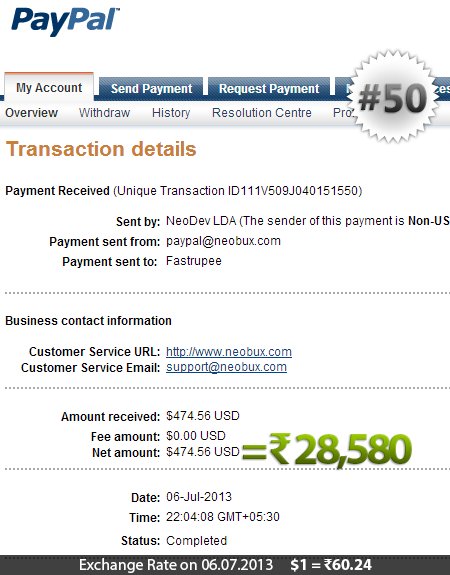 Neobux Payment Proof 50