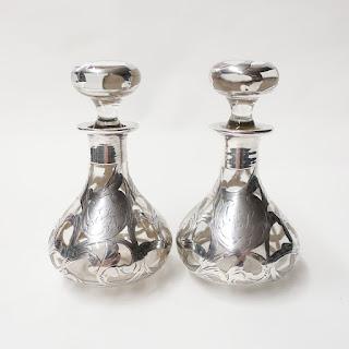 Sterling Silver Overlay Glass Bottle Pair
