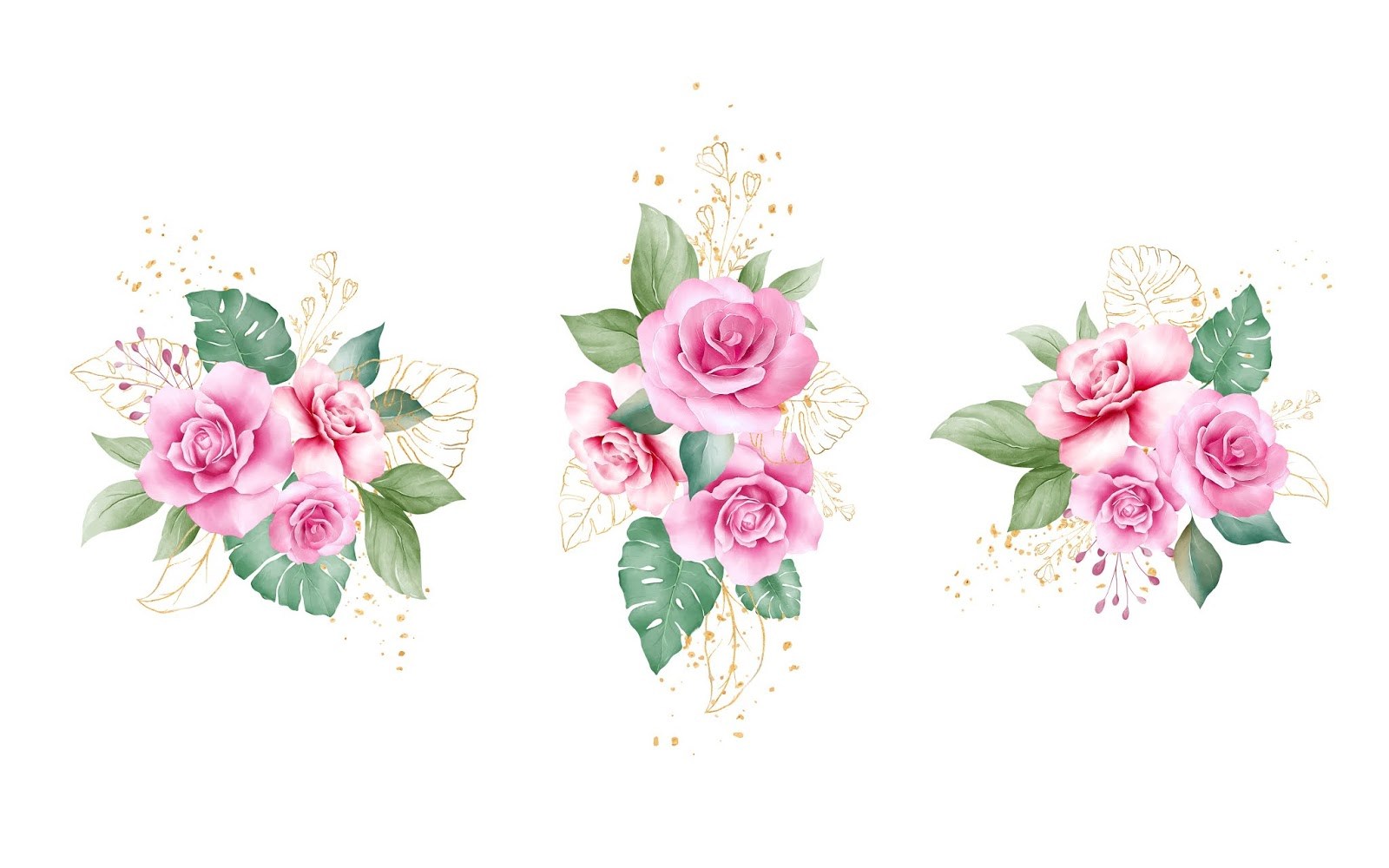 Vector Pink Purple Rose Flowers Gold Leaves Free Download Vector CDR, AI, EPS and PNG Formats