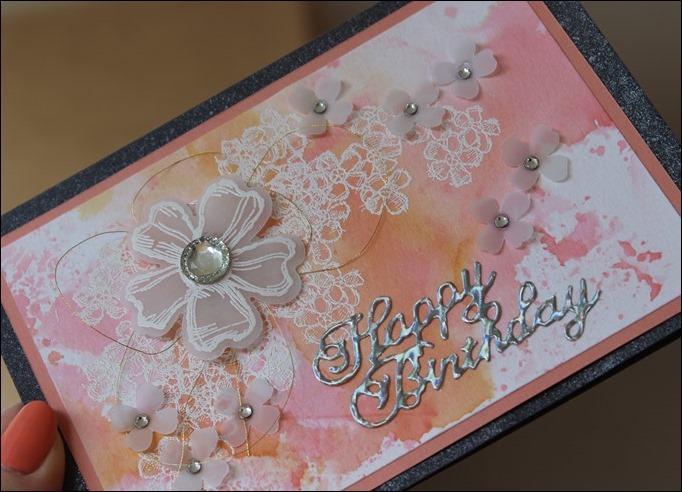 Glückwunsch Gebrutstagskarte Aquarell Rosa Blumen Perlmutt 02
