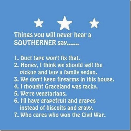 things you will never hear a southerner say
