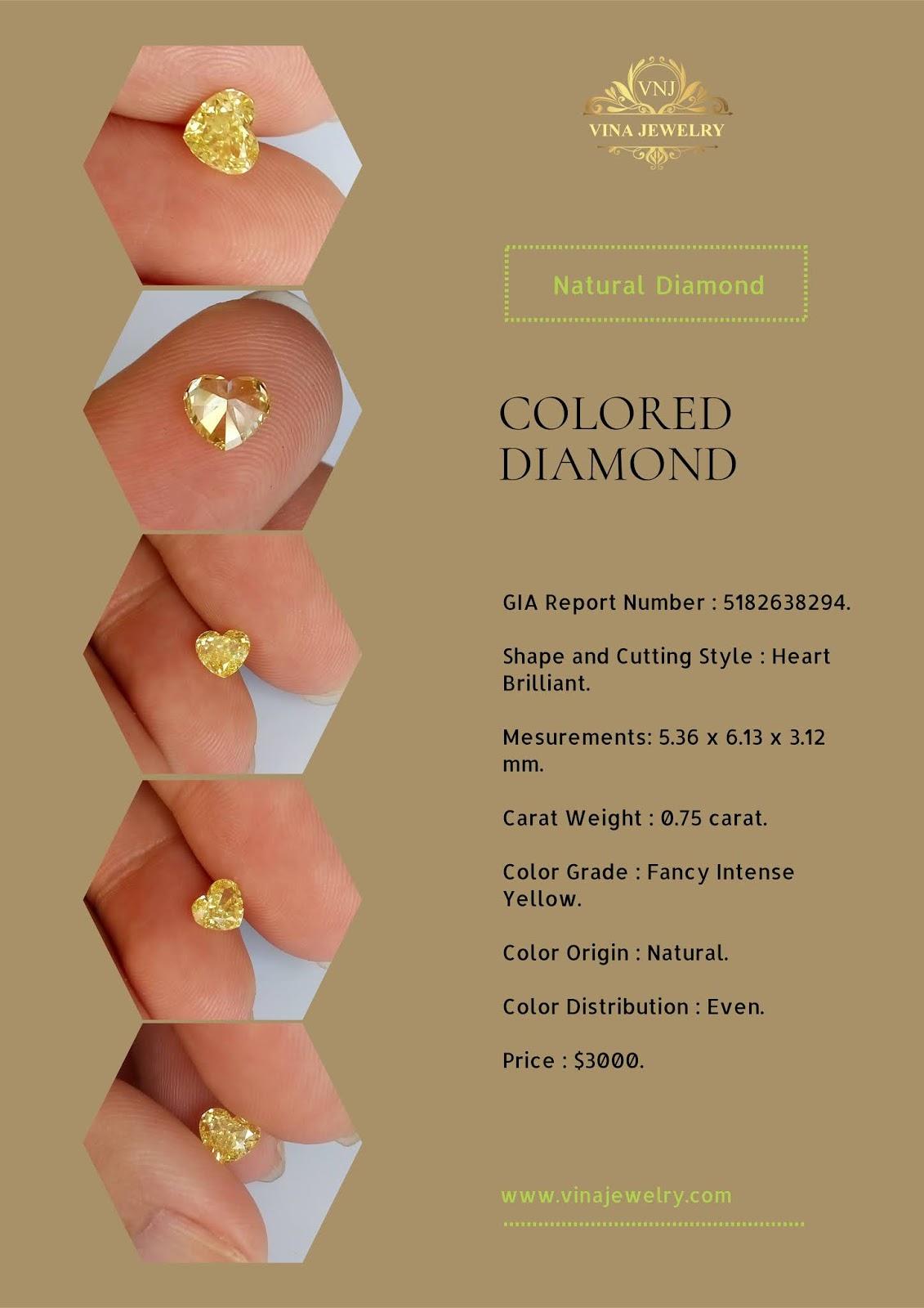 Kim cương thiên nhiên màu vàng, giác cắt trái tim đã kiểm định GIA Hoa Kỳ, Natural Diamond Fancy Color heart shape