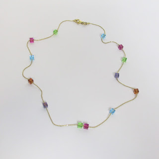 14K Gold and Multicolor Glass Cube Necklace