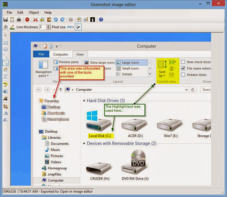 Screenshot of Greenshot v.1.1.5.2643 Graphic Capture PC Software Free Download at Alldownloads4u.Com
