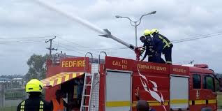 Bank building caught fire in Lagos