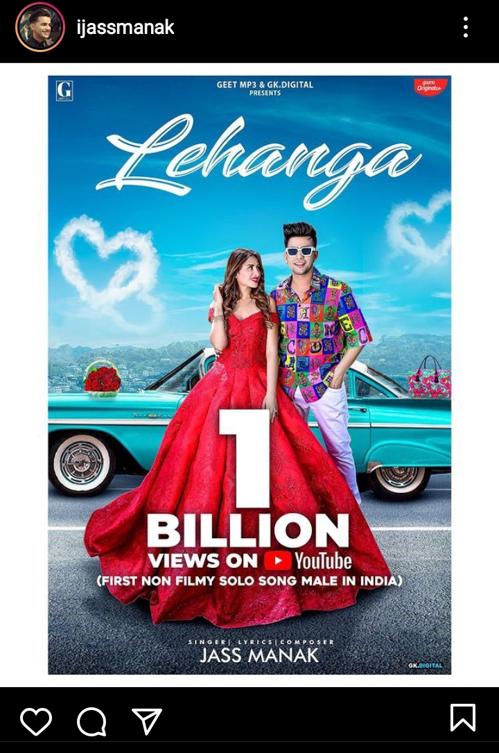 "Jass Manak's Song ""Lehanga"" Crosses 1 Billion Views On YouTube"