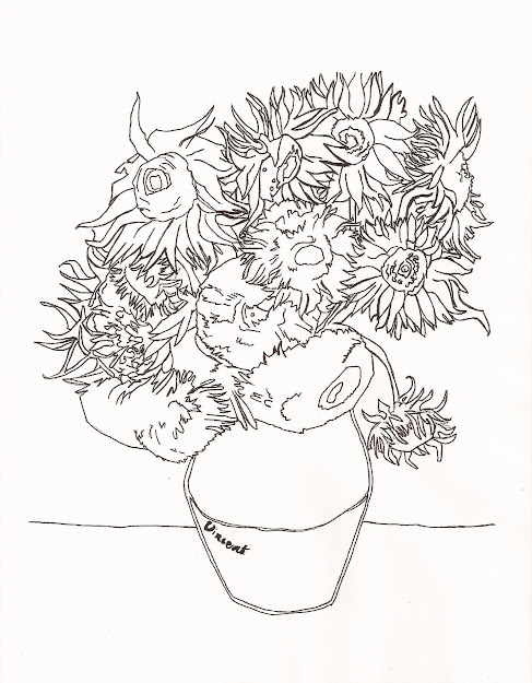 Adult Vincent Van Gogh Coloring Pages Vincent Van Gogh Sunflowers Regarding Van  Gogh Coloring