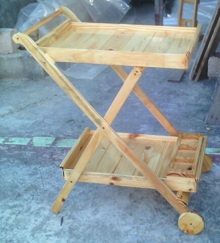 Carpinteria artesanal el madero mesa camarera plegable for Mesa camarera plegable
