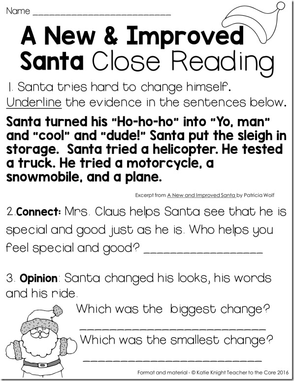 Close Reading for the book A New and Improved Santa from the blog author Katie Knight of Teacher to the Core