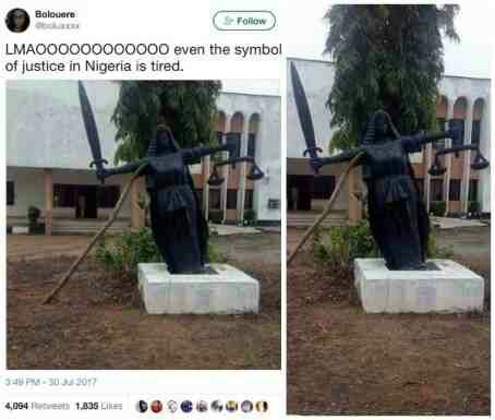 Symbol of Justice in Nigeria leans on stick for support