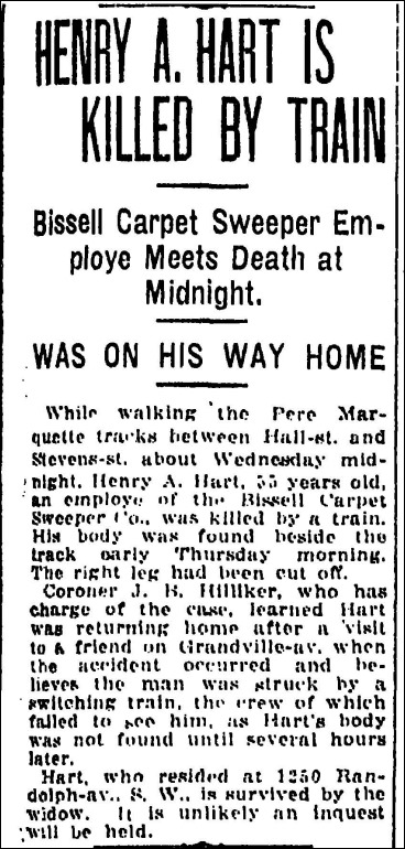 HART_Henry A_article about his being killed by a train_17 Jul 1919_GrandRapidsPress_page 3