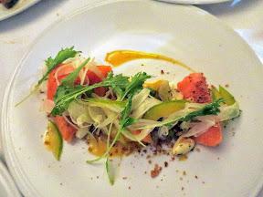 Bouillon Bilk in Montreal, salmon, artichoke, romano, tomato, apricot, fennel vadouven