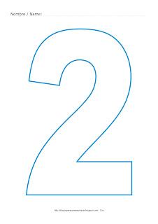 Lámina para colorear y pintar el número dos en color cian