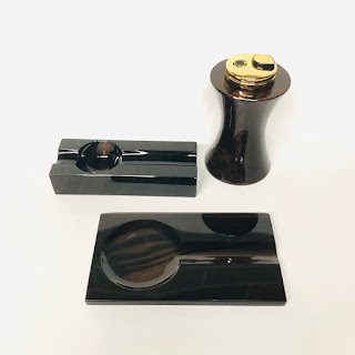 Cub-Ar Obsidian Ashtray and Lighter Lot