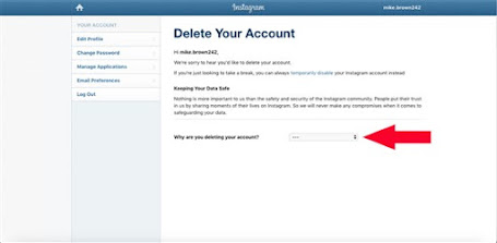 Delete Your Instagram Account page