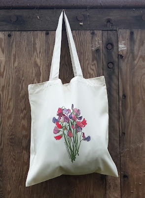 Sweet Peas bag - Recycled Tote Bag by Alice Draws The Line