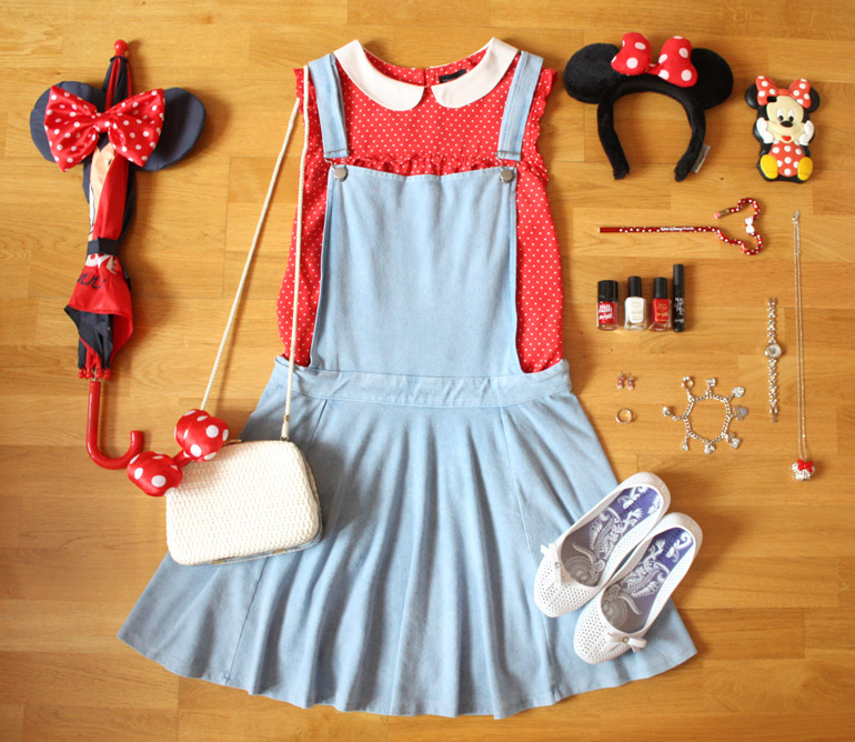 minnie mouse inspired fashion outfit flat lay from the high street