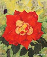"""""""Rose feuerrot- ich komme, ich komme"""", Öl und Zeitung auf Leinwand, 40x47, 2001"""
