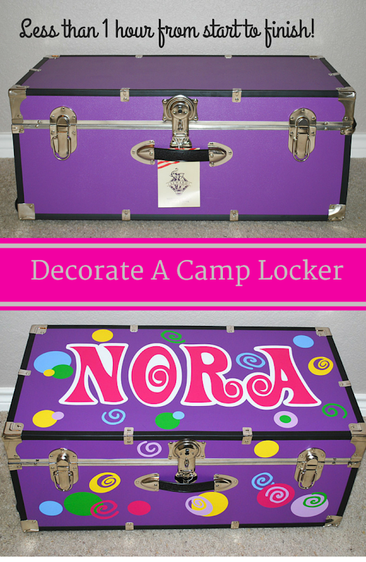Decorate A Camp Locker in under an hour. Easy DIY lesson on how to decorate a summer camp locker / trunk. Custom Trunks are all the rage and your little one with adore it. Less than 1 hour from start to finish! Uses a Cricut cutting machine and vinyl. #camp #locker #cricut #vinyl #craft #DIY