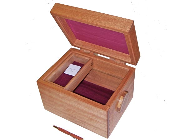 Photo: Custom box in red meranti hardwood with velvet lining.  All boxes made to the size required.