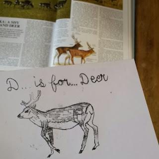 Deer Monoprint :: www.AliceDrawsTheLine.co.uk