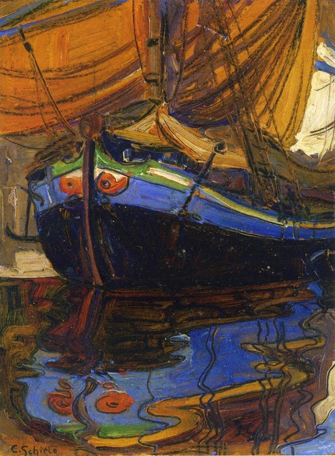 Egon Schiele - Sailing Boat with Reflection in the Water