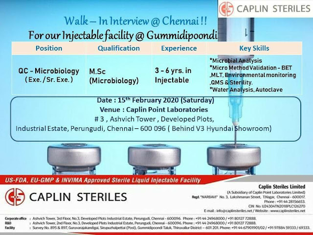 Caplin Steriles - Walk in interview for Quality Control on 15th Feb 2020