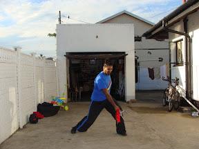 Shifu Kody performing a Tie Cha (Trident) demonstration