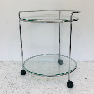 Chrome & Glass Two-Tier Drinks Cart