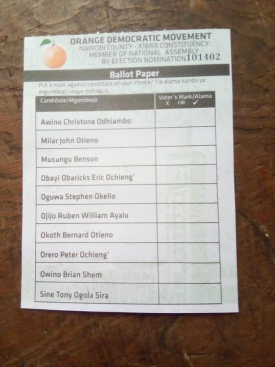 ODM nomination candidates list. PHOTO | STAR