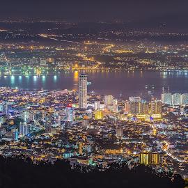 Penang Hill by Lim Keng - City,  Street & Park  Night