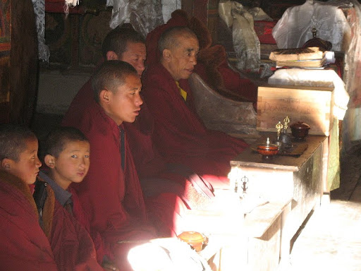 Puja in Mu Gompa, Tsum, Nepal, 2011. Photo courtesy of Kopan Monastery.