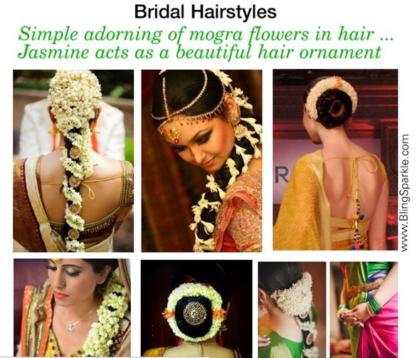 hairstyles with flowers, gajra, mogra in hair