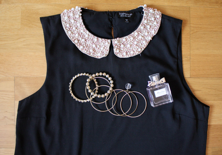 embroidered collar blouse fashion outfit flat lay from the high street