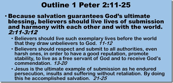 Outline 1 Peter 2.11-25