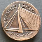Achterkant bronzen herdenkingspenning. Diameter 8,5 cm. Oplage 5.