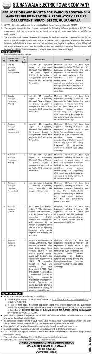 Gujranwala Electric Power Company Jobs 2021 GEPCO 2nd Advertisement