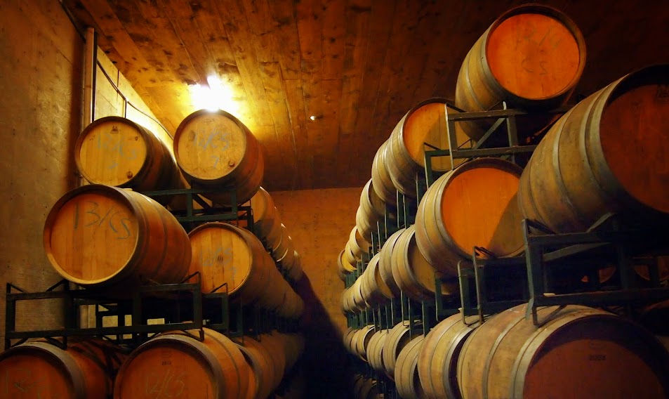 Wine stored in oak barrels