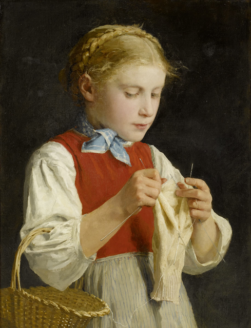 Albert Anker - Young Girl Knitting
