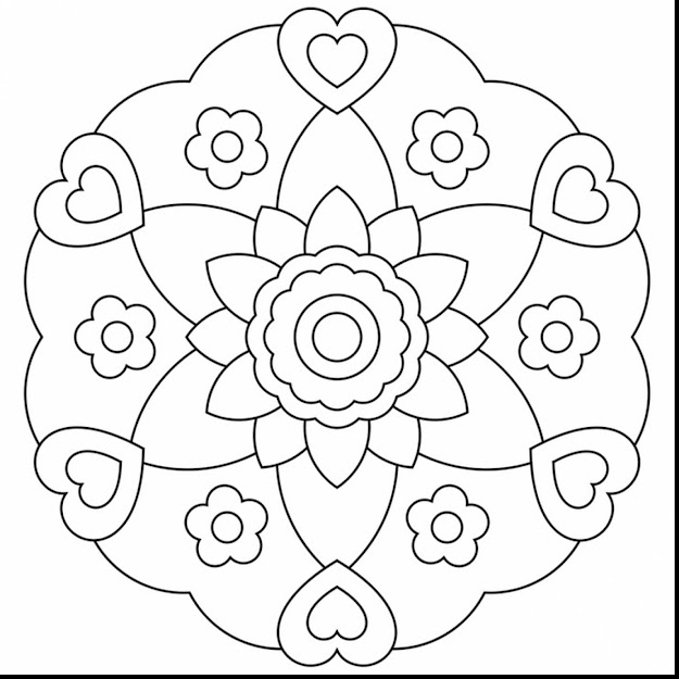 Beautiful Heart Mandala Coloring Pages Printable With Printable Mandala  Coloring Pages And Printable Mandala Colouring Pages